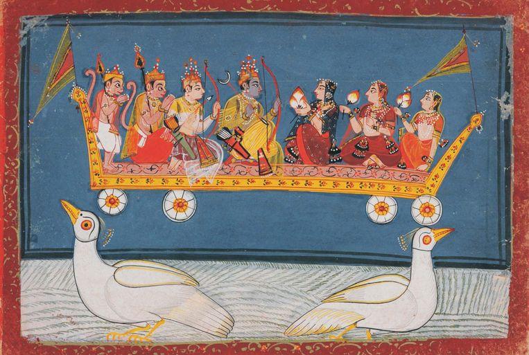 Rama en Sita, die met Lakshmana terugkeren naar Ayodhya op de Pushpaka Vimana van Ravana, Malwa stijl, Centraal India, midden 17de eeuw, papier, 17,7 x 25,3 cm, Nationaal Museum Janpath, Nieuw-Delhi. Beeld National Museum New Delhi
