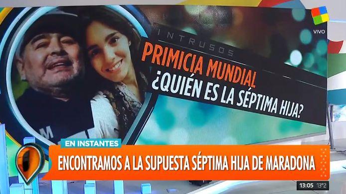 Het Argentijnse televisieprograma 'Intrusos' had de primeur over het mogelijk zevende kind van Diego Maradona.