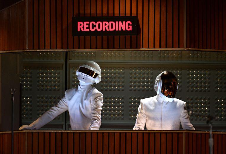 Daft Punk tijdens de uitreiking van de Grammy's in januari 2014. Beeld WireImage