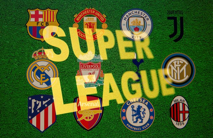 Super League words are seen in front of twelve of Europe's top football clubs logos in this illustration taken April 19, 2021. REUTERS/Dado Ruvic/Illustration