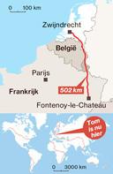 De route die Tom tot nu toe heeft afgelegd.