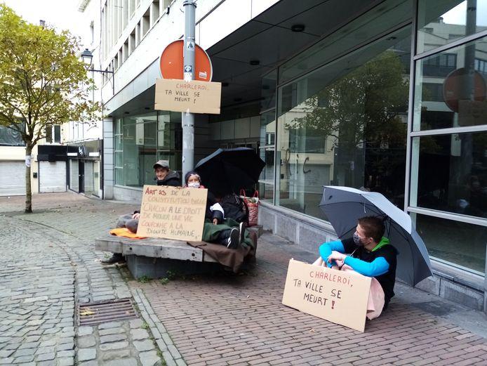 Les manifestants ont pris possession des endroits délaissés à Charleroi.