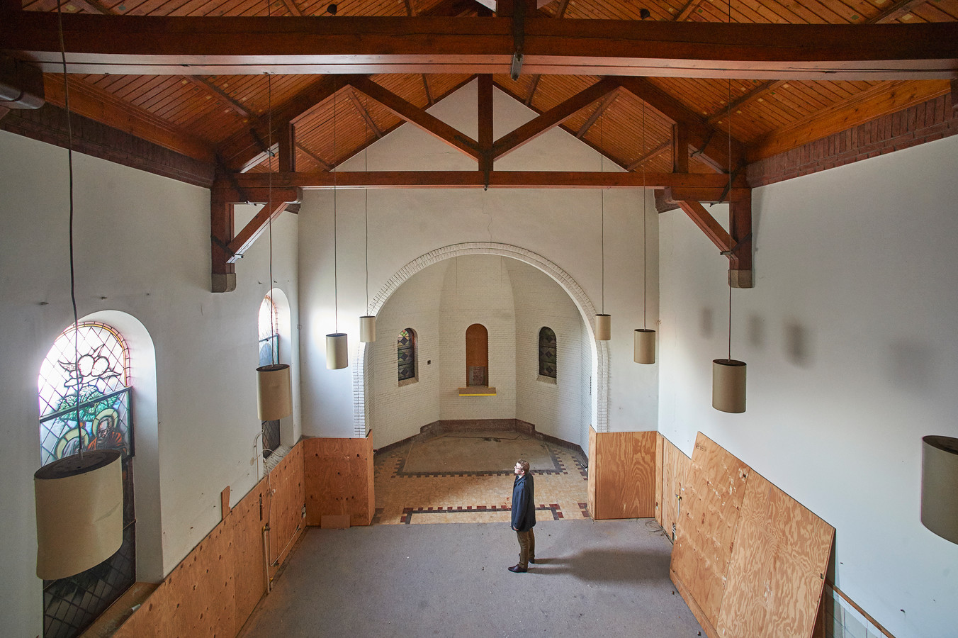 Ook de voormalige kapel in het klooster wordt verbouwd tot woning.