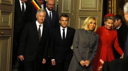 Macron, Michel en Bourgeois plegen economisch overleg na bezoek aan Gents stadhuis