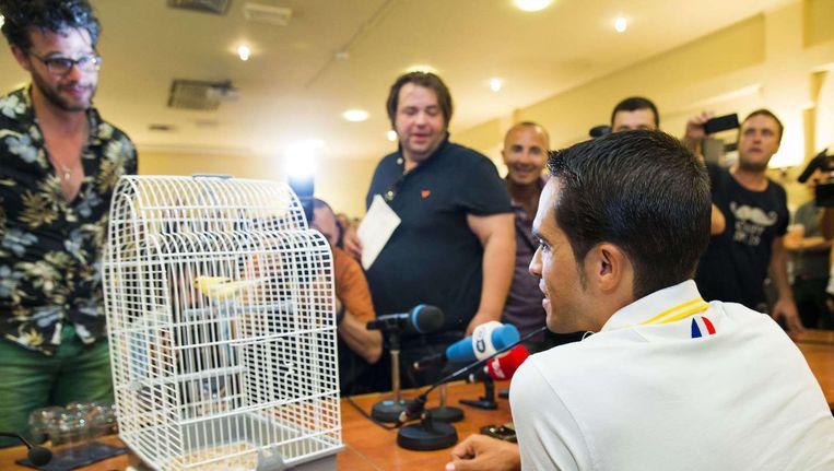 Erik Dijkstra (l) en Frank Evenblij van het Nederlandse TV-programma Bureau Sports hadden een kanarie bij voor Contador. 'El Pistolero' bevestigde dat hij een grote kanarieliefhebber is. Beeld AFP