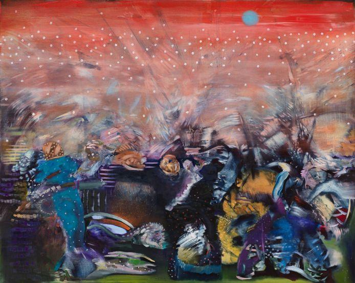 Het schilderij 'Red' van Ali Banisadr is vanaf 10 september te zien in het Noordbrabants Museum.