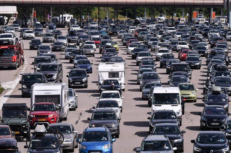 Eerder in juli was het ook druk op de Franse wegen.  Beeld AFP