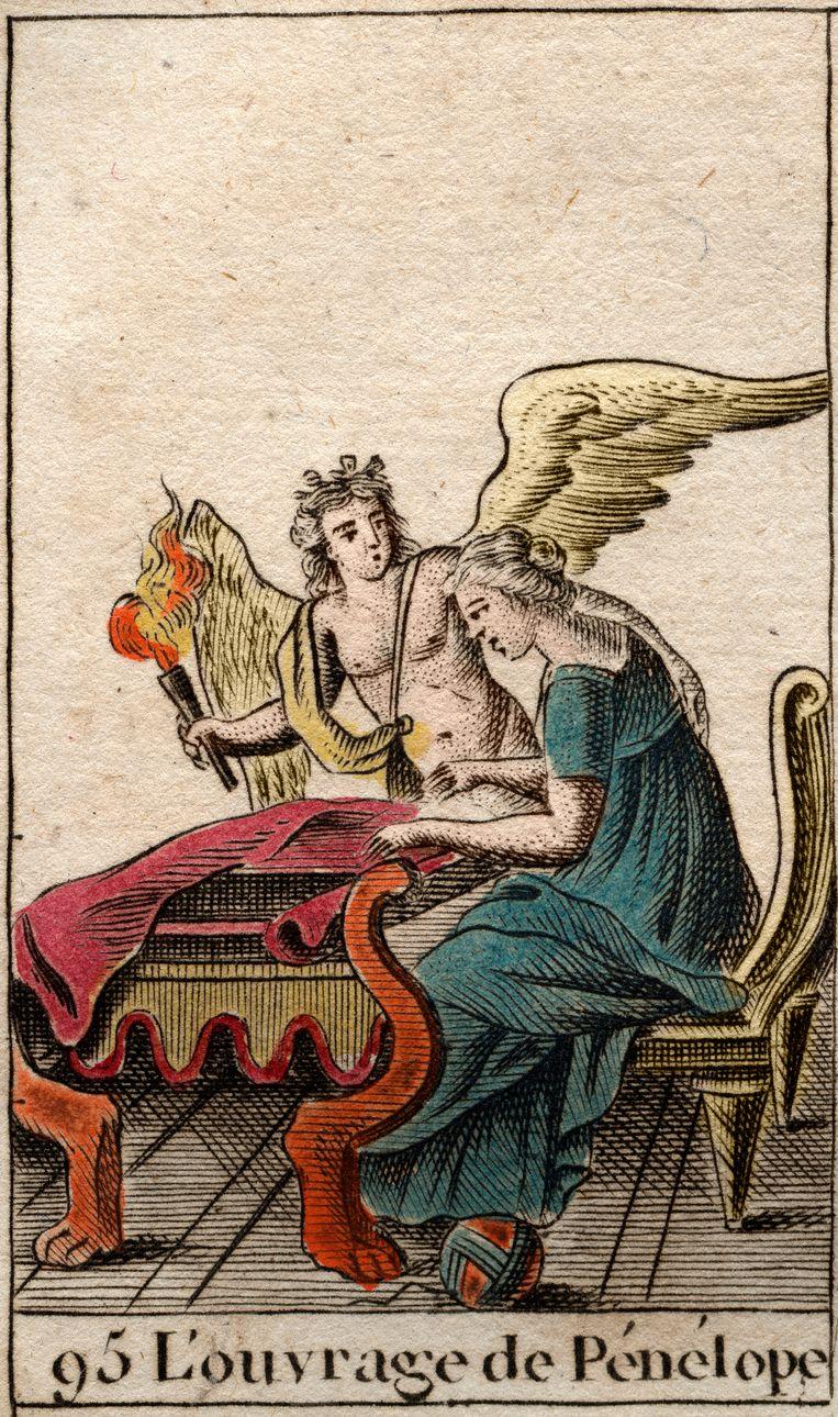 Penelope met haar weefwerk. Uit Pierre Blanchards Mythologie de la jeunesse (1801).  Beeld Corbis / Getty