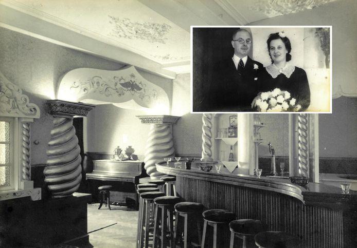De Russische nachtclub Slawa in de Lange Houtstraat en pa en ma Bakker
