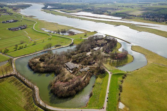 Fort Honswijk vanuit de lucht gezien.