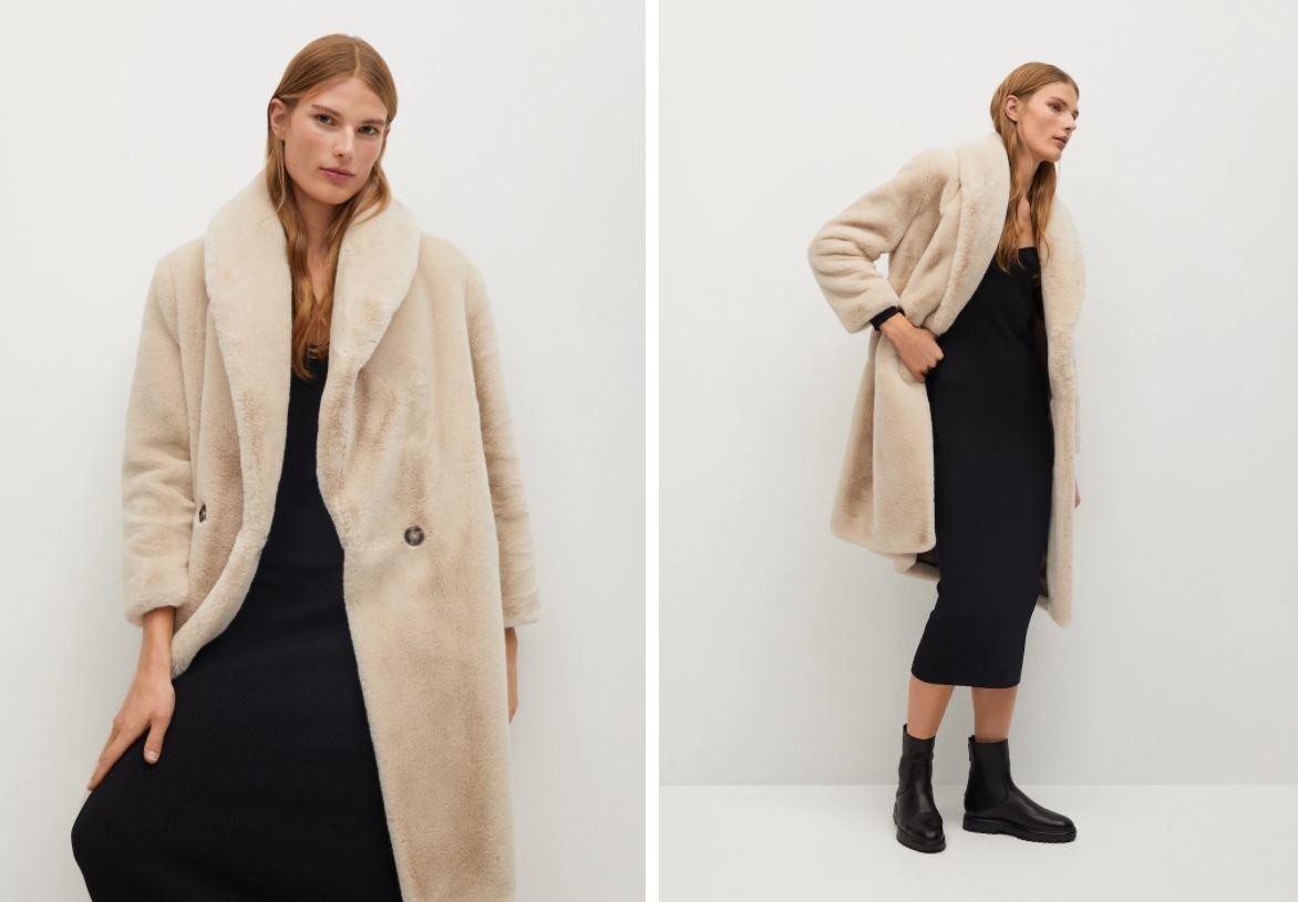 Manteau long en fausse fourrure