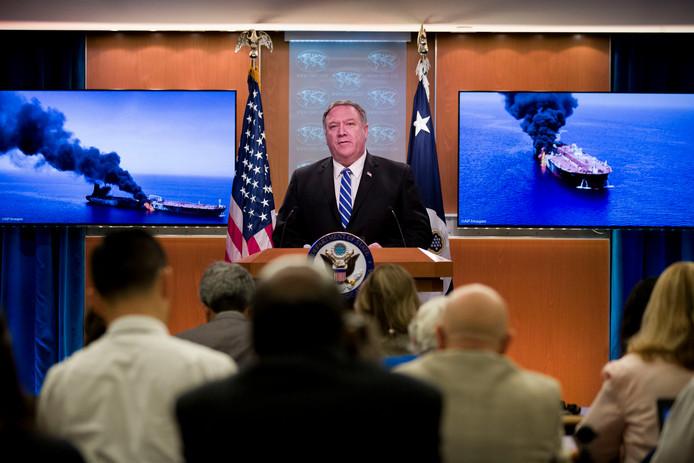 Le secrétaire d'Etat américain Mike Pompeo lors d'une conférence de presse à Washington, le 13 juin 2019.