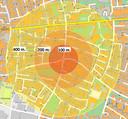 Deze kaart, getekend op een willekeurige kruising in Winterswijk, laat de enorme gevolgen zien van een impactcirkel van 400 meter.