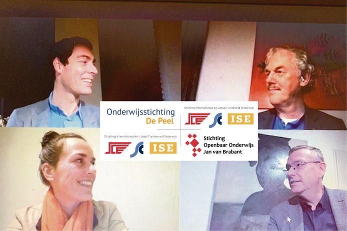 Bestuurders Arn Bressers, Meine Stoker, Marcel Meulen en Petra de Bruijn (van linksboven met de klok mee) tekenen de intentieovereenkomst om een bestuurlijke fusie te onderzoeken.