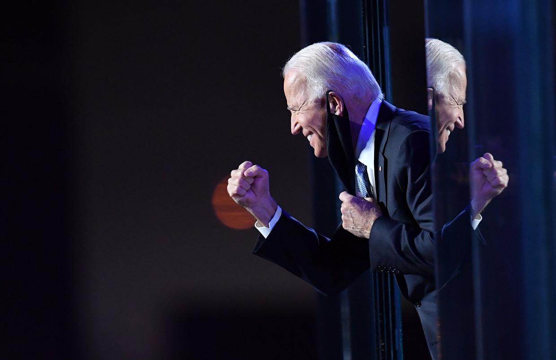 Biden vooraf aan zijn overwinningsspeech.  Beeld AFP