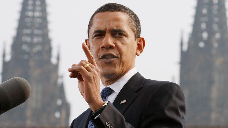 In 2009 hield Obama een toespraak in Praag, waarin hij zei op zoek te gaan naar een wereld zonder kernwapens. Beeld AP
