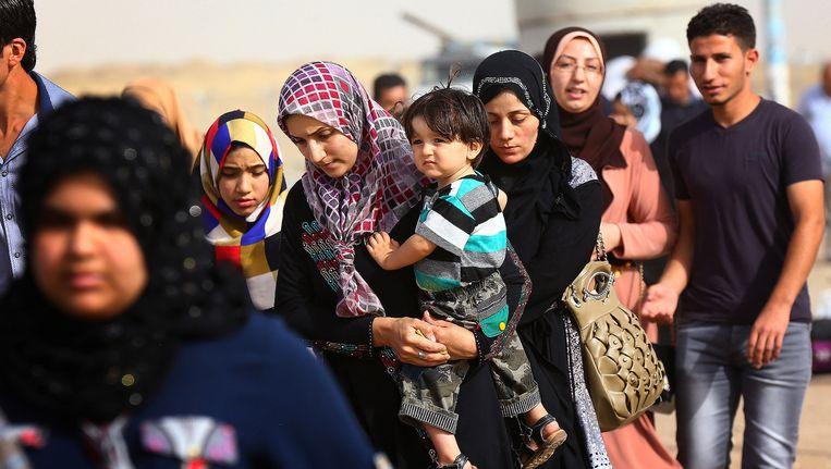 Vluchtelingen uit Mosul. Beeld ap
