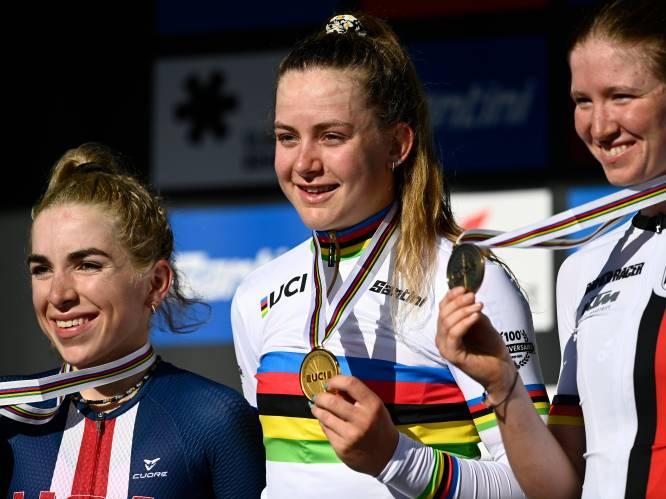 Na zilver in tijdrit nu goud in wegrit: toptalent Zoe Bäckstedt pakt in Leuven de regenboogtrui bij dames junioren