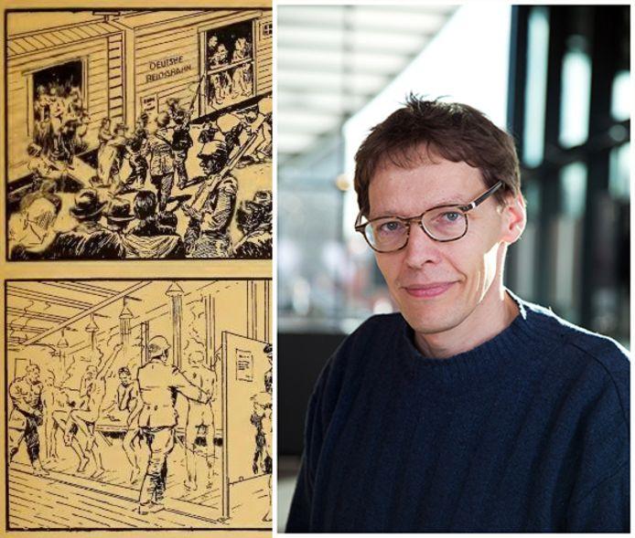 Links: het allereerste stripverhaal 'Nazi Death Parade' van August M. Froehlich. Rechts: Kees Ribbens, Bijzonder Hoogleraar aan de Erasmus Universiteit