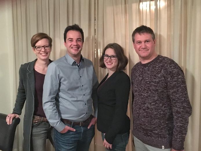 De eerste vier van de D66-kieslijst in Aalten. De partij hoopt voor het eerst in dertig jaar in de gemeenteraad te komen.