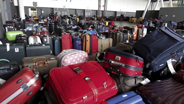 Onafgehandelde bagage in Zaventem. Beeld afp
