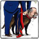 Spotprent met Trump die de hondenlijn van Erdogan losmaakt.