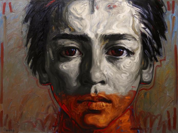 Close-up portret van Jerome, de zoon van kunstenaar Nico Vrielink.