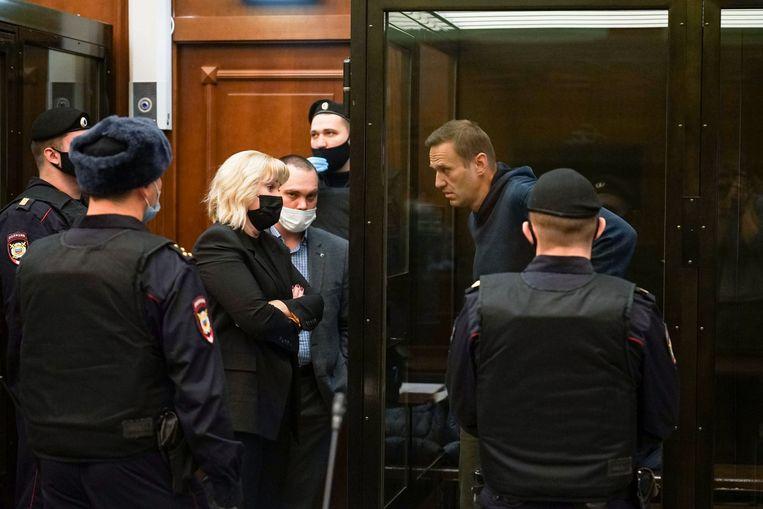 Aleksej Navalny in de rechtszaal in Moskou. Beeld AFP
