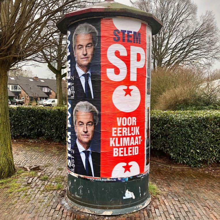 Twee keer Wilders, twee keer SP. Beeld Toine Heijmans