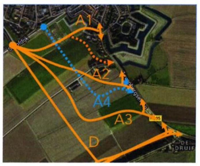 Varianten voor de randweg Klundert. Er is gekozen voor variant A3, die door gronden van twee eigenaren en drie gebruikers gaat lopen.