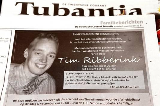 Overlijdensadvertentie na de dood van Tim Ribberink