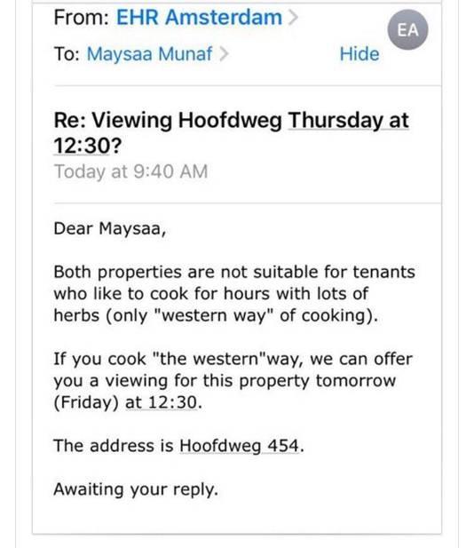 De bewuste mail die Maysaa Munaf kreeg.