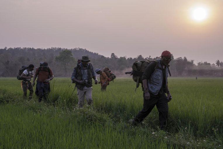 Scène uit 'Da 5Bloods', waarin vijf Vietnamveteranen terug naar 'het front' gaan. 'Ik heb van mijn moeder al op jonge leeftijd geleerd dat zwarte mensen geen monolithische groep zijn.' Beeld Netflix