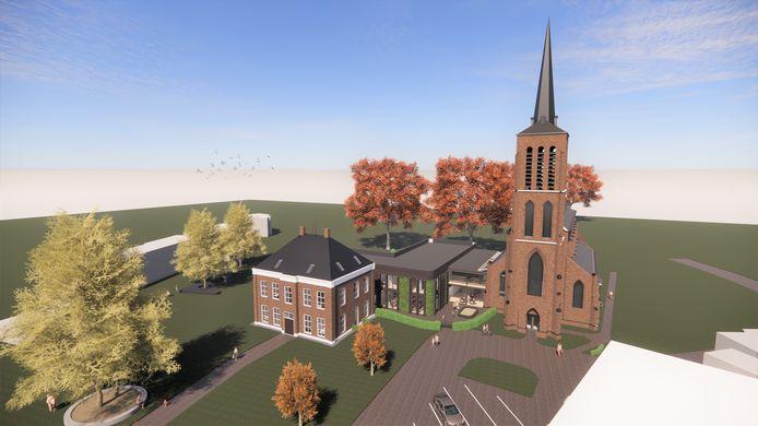 Impressie van de nieuwe bassisschool in en naast de kerk in Eerde.