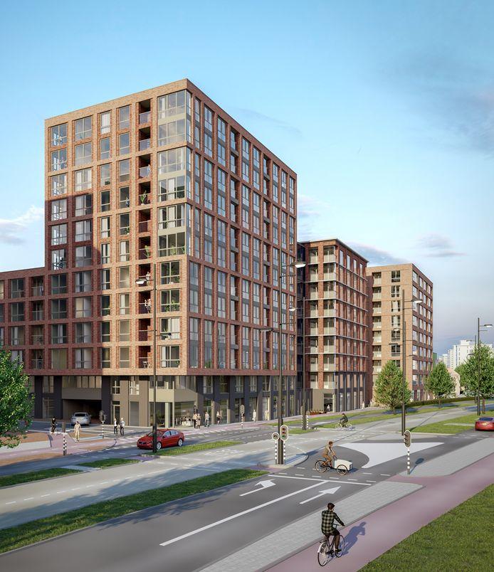 Impressie van het project Hartje Eindhoven 2.0 aan de PSV-laan in Eindhoven; hier is plaats voor 264 huur- en koopwoningen. Het is één van de plannen in de pijplijn.
