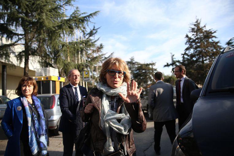 Agnes Callamard (C), speciaal rapporteur buitengerechtelijke executies van de VN. Beeld EPA