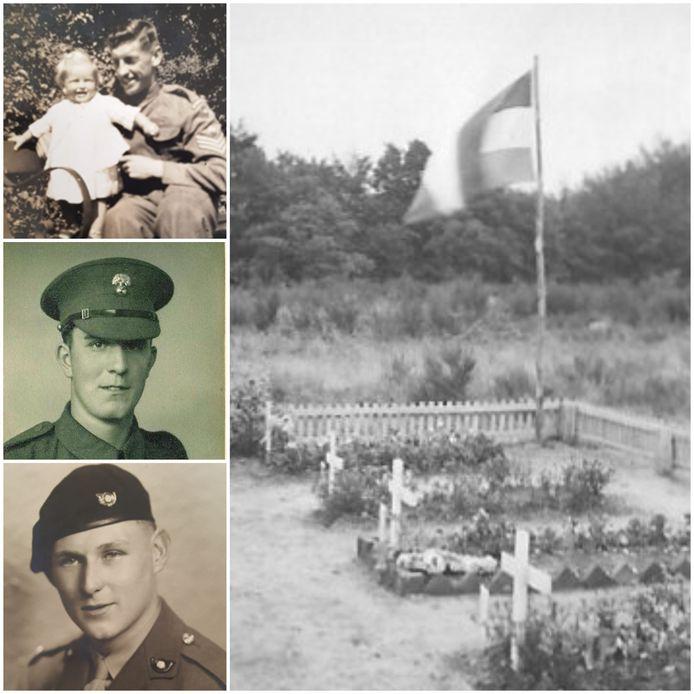 Het vergeten kerkhofje van de Grenadier Guards in 1945. Links enkele Britse gesneuvelde militairen: William Draycott, Gerard Hamblin en Harry Heenan. De slachtoffers zijn na de oorlog herbegraven op War Cemetery Jonkerbos in Nijmegen.