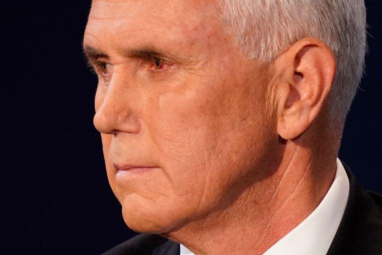 Vice President Mike Pence tijdens het debat tegen zijn Democratische tegenstrever Kamala Harris.  Beeld AP