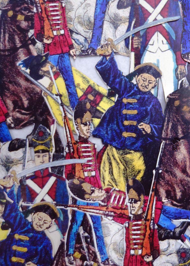 Detail uit Zeshonderdzesenzestig van Isabel Ferrand, 2006, collage van papier en hout, 70 x 90 cm. Beeld Museum Gouda