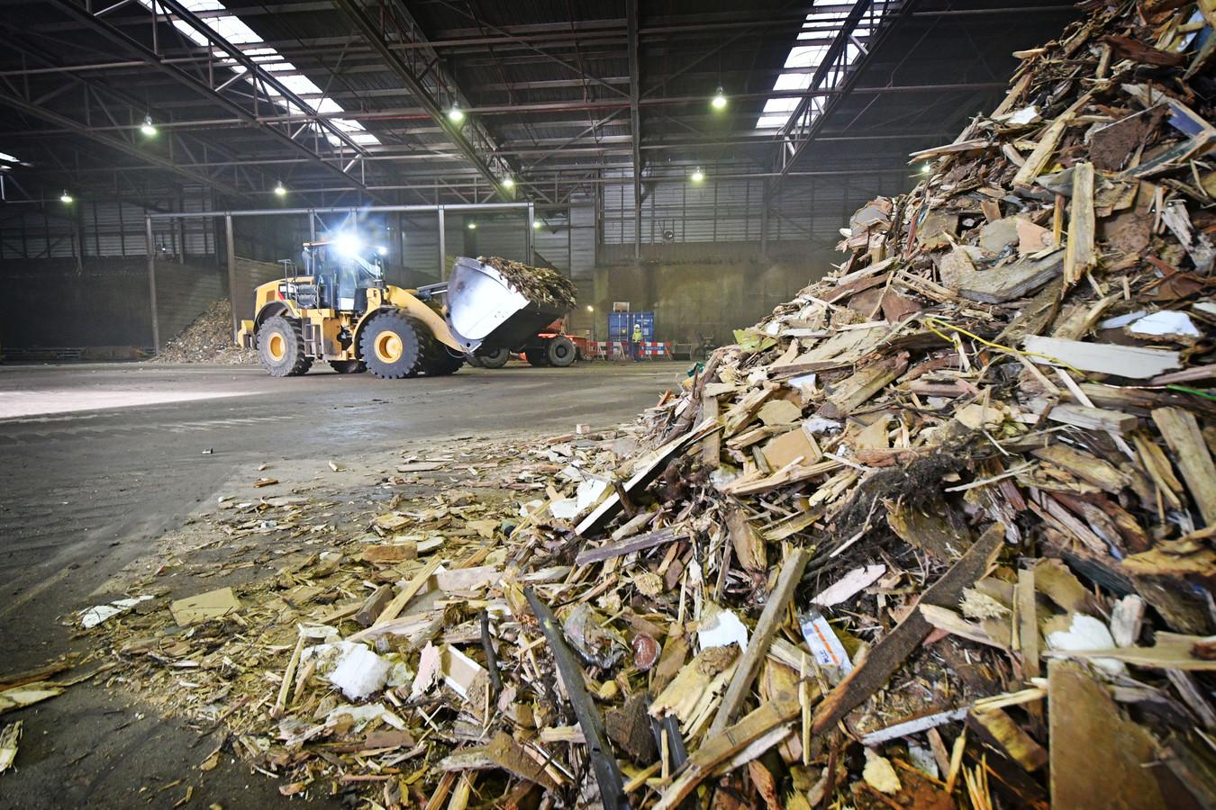Houtafval voor een biomassacentrale in Twente.