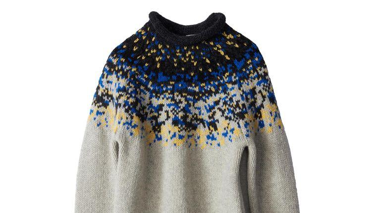 Grijs-donkerblauwe IJslandse trui van Acne Studios, euro 400 Beeld