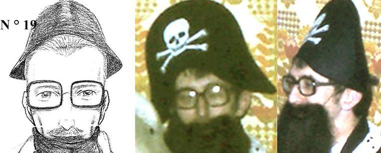 Links: de robotfoto van 'De Reus'. Midden en rechts: een verklede C.B. tijdens een feestje van zijn carnavalsvereniging.