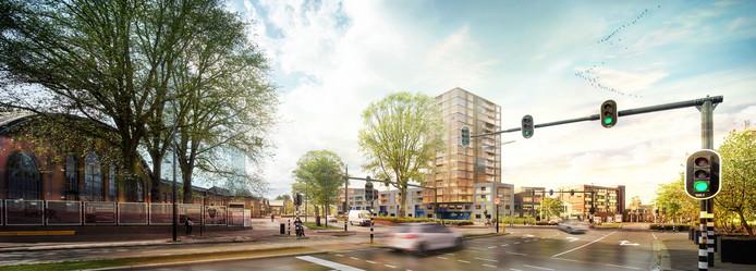 Eerste schetsen van het nieuwe complex. Dat tracht verschillende milieus van de Brokxlaan, Besterdring en Theresia aaneen te smeden.