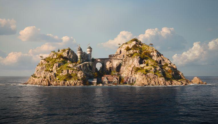 Het eiland uit Jim Button en de stad van de draken Beeld