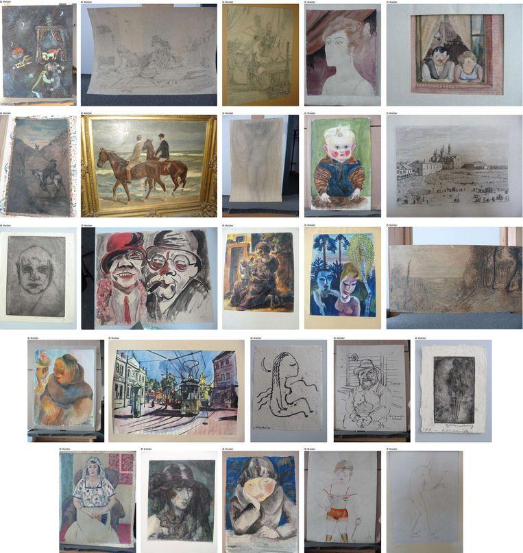Enkele van de ruim 1500 schilderijen die in het huis van de Duitser Cornelius Gurlitt werden aangetroffen. Beeld AFP