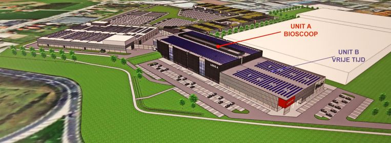 Een toekomstbeeld van het nieuwe cinemacomplex op de voormalige site van meubelreus Ikea.