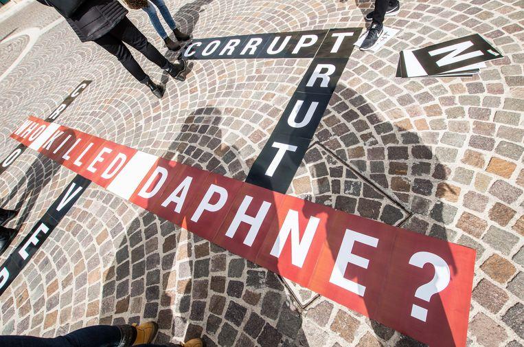 Enkele jaren geleden eisten actievoerders antwoorden op de vraag wie er achter de moord op de Maltese journalist Daphne Caruana Galizia zat, en in hoeverre de overheid betrokken was. Beeld ZUMA Press