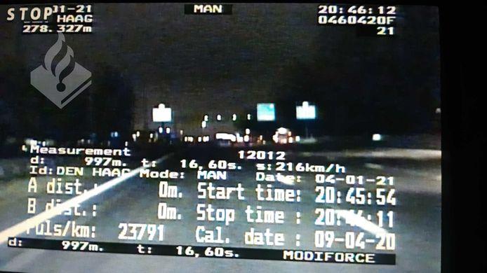Een screenshot van de meting van verkeerspolitie Den Haag.