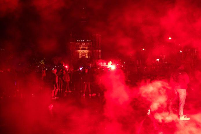 Feest op de Brink na de promotie van Go Ahead Eagles.