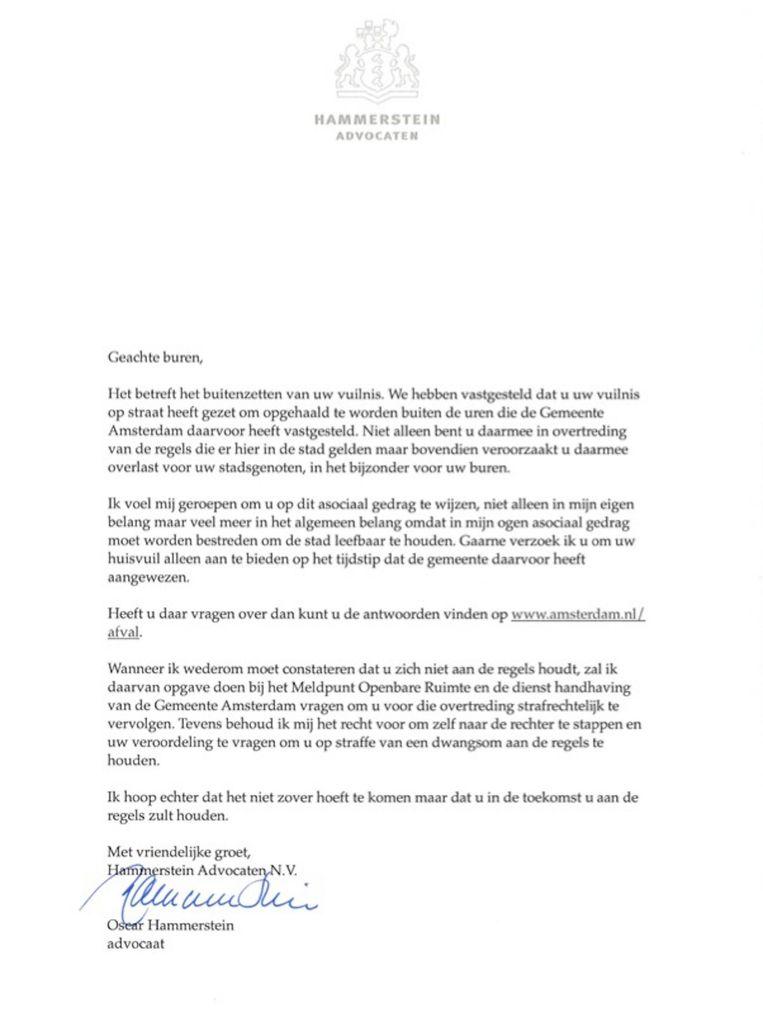 De brief van Hammerstein. Beeld .
